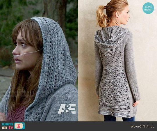Emma's purple cable knit sweater and hooded cardigan on