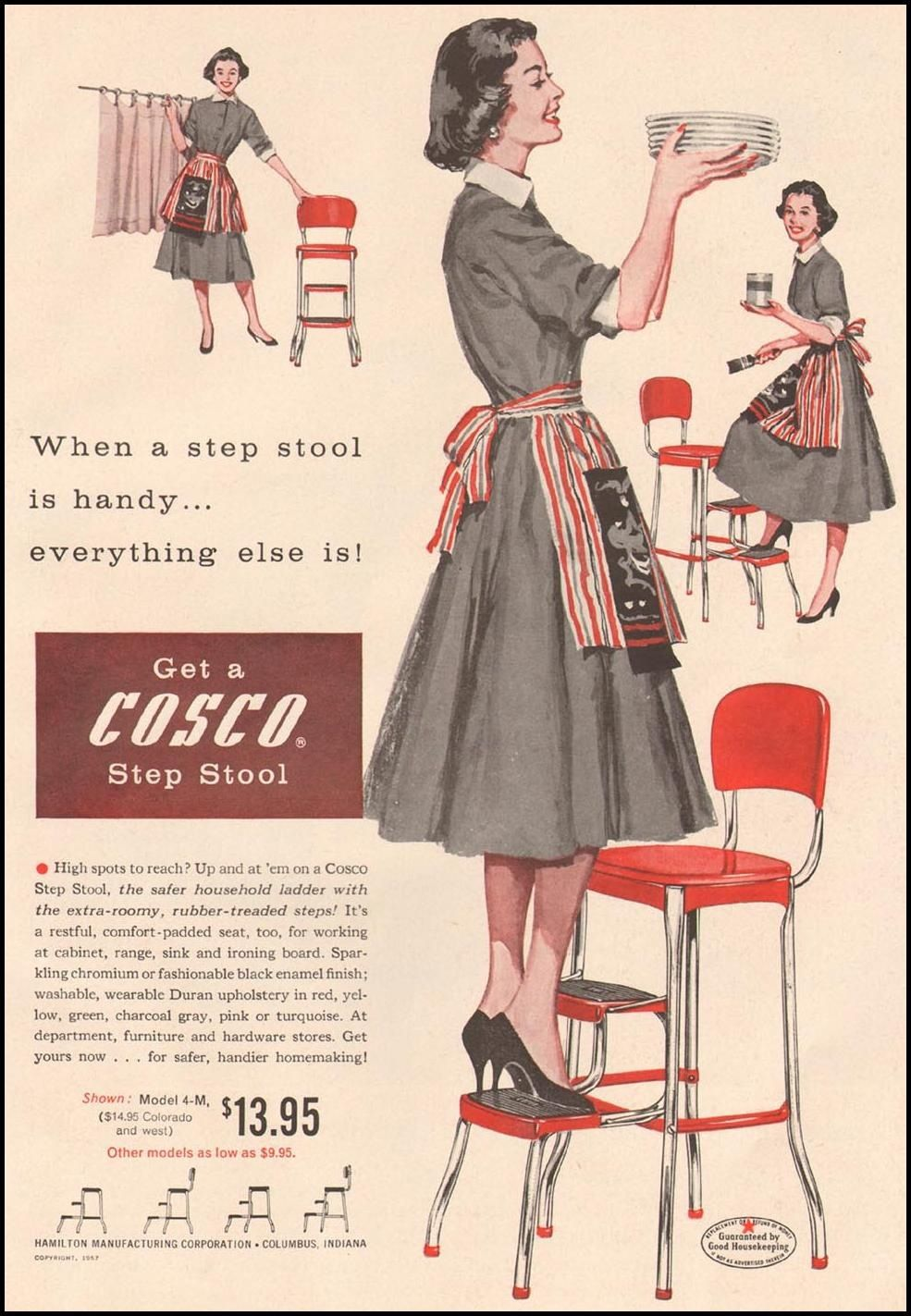 Housewife Get A Cosco Step Stool 1957 Advertisement