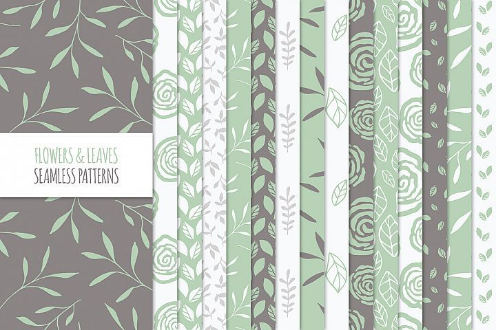 Floral Seamless Patterns - Green #floralseamlesspatterns #seamlesspatterns #floralpatterns #vectorpatterns #floral #flowers #leaf #leafy #leaves #branches