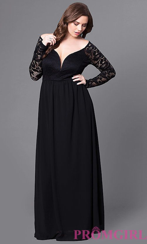 Plus-Size Long Lace-Sleeve Black Formal Prom Dress | prom in ...