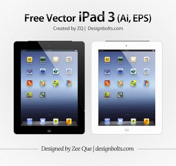 Free Vector Apple IPad 3 Tablet Mockup In (.ai & .eps