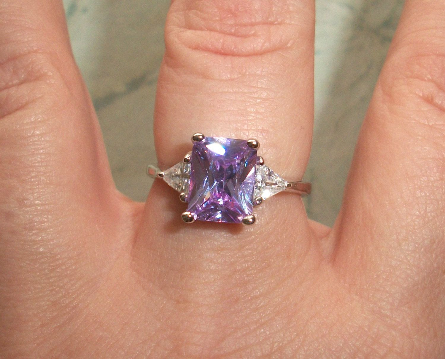 Vintage Preowned Signed 925 Fas Sterling Silver Cocktail Ring,amethyst,purple  Pink,size 675,note Scrap,4g,designer,rectangle,triangle