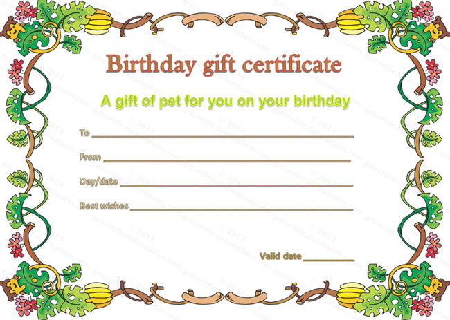 pet gift certificate template for birthday beautiful printable