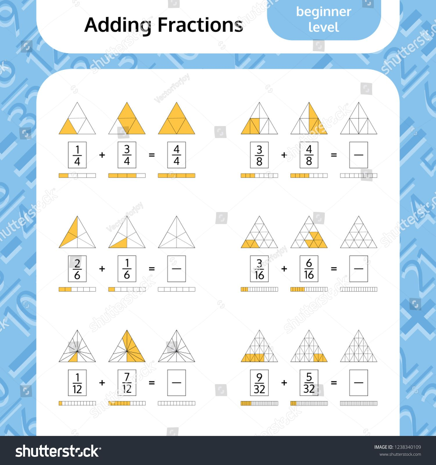 Adding Fractions Mathematical Worksheet Triangles Coloring Book Page Math Puzzle Educational Game Vector Illustra Fractions Adding Fractions Maths Puzzles Adding vectors worksheet physics
