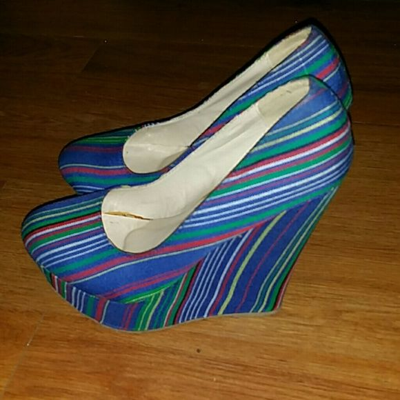 Super cute striped wedges Slightly used, blue w/ stripes, wedge, platform Shoes
