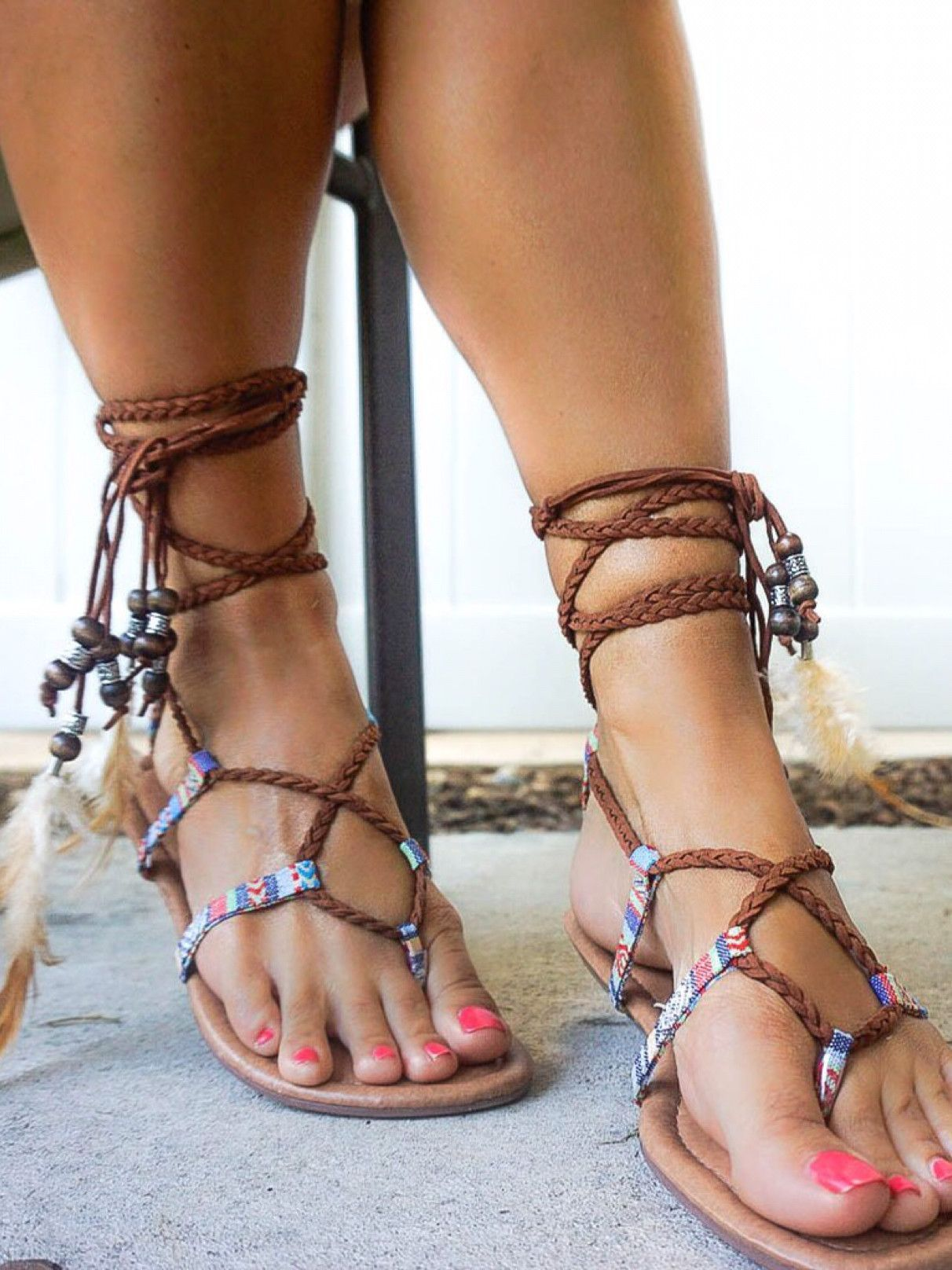 74abbb5f874 Bianca-19 Braided Ankle Tie Up Beaded Flat Gladiator Sandal Boho Chic  Feather