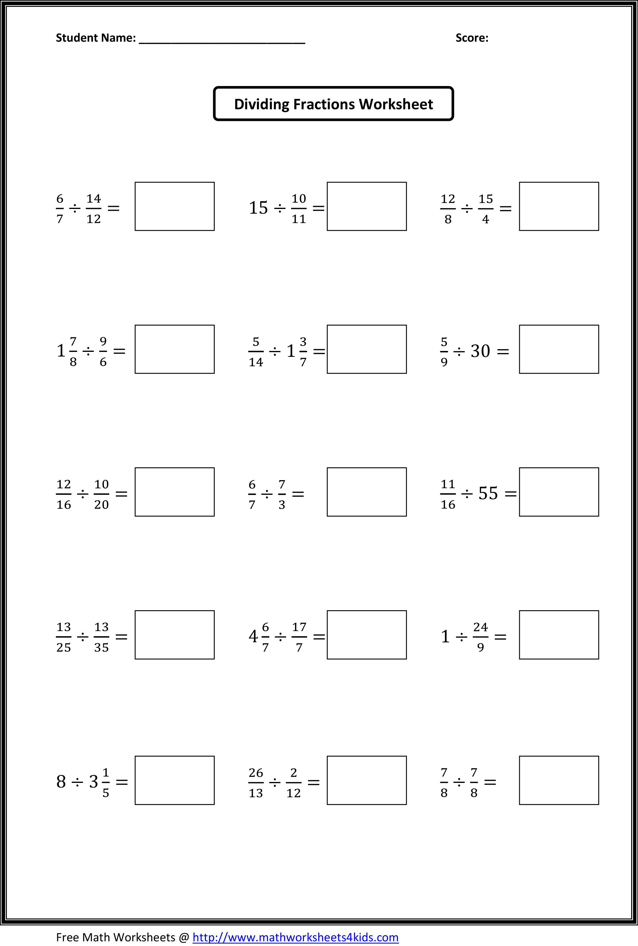Dividing Fractions Worksheets Fractions worksheets, Math