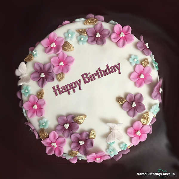 Beautiful Birthday Cake For Girls With Name And Photo