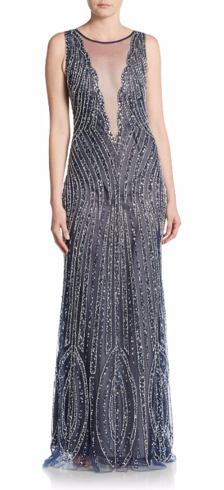Basix Black Label | Embellished Illusion-Top Trumpet Gown | SAKS OFF 5TH