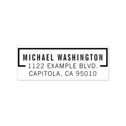 Custom Wooden Bold Typography Name Return Address Rubber Stamp