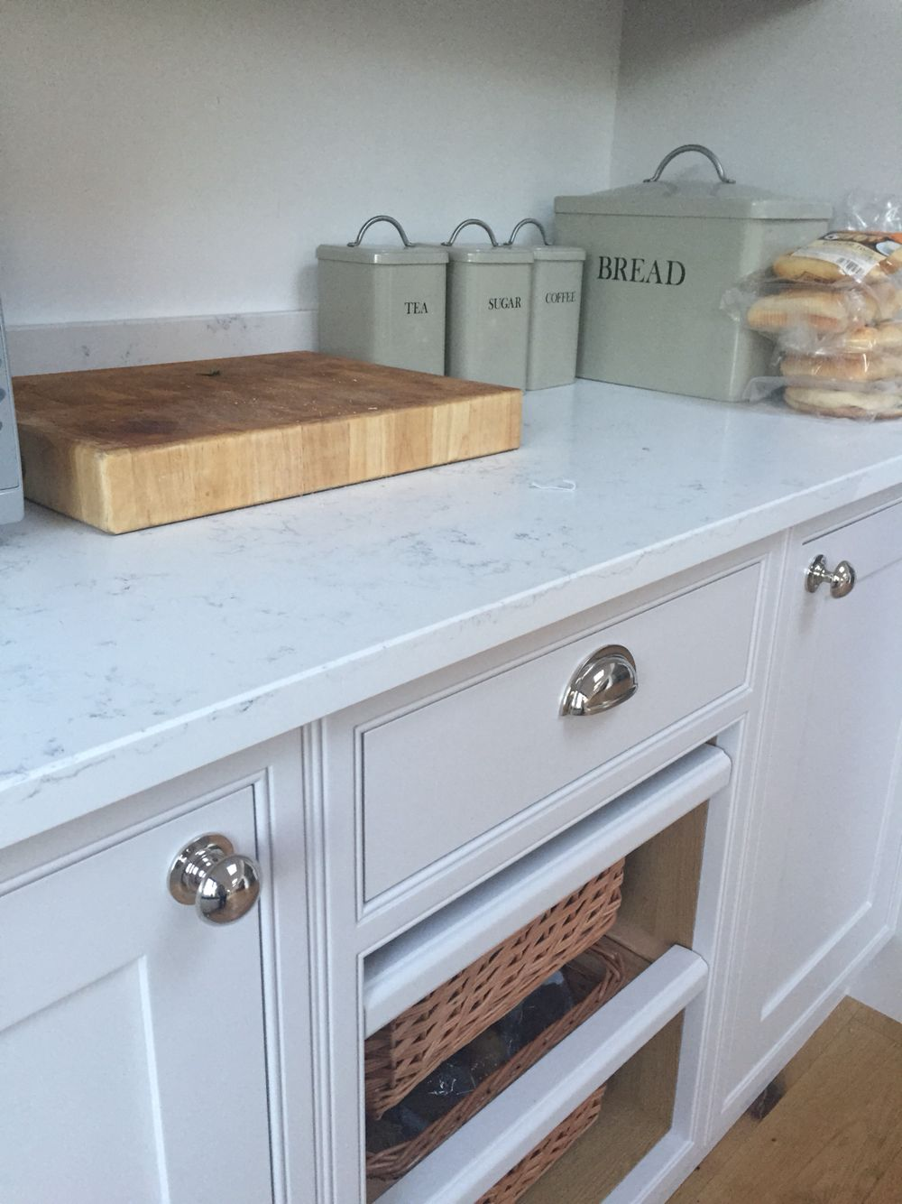 Dulux heritage Chiltern White with white marble Quartz worktops in ...