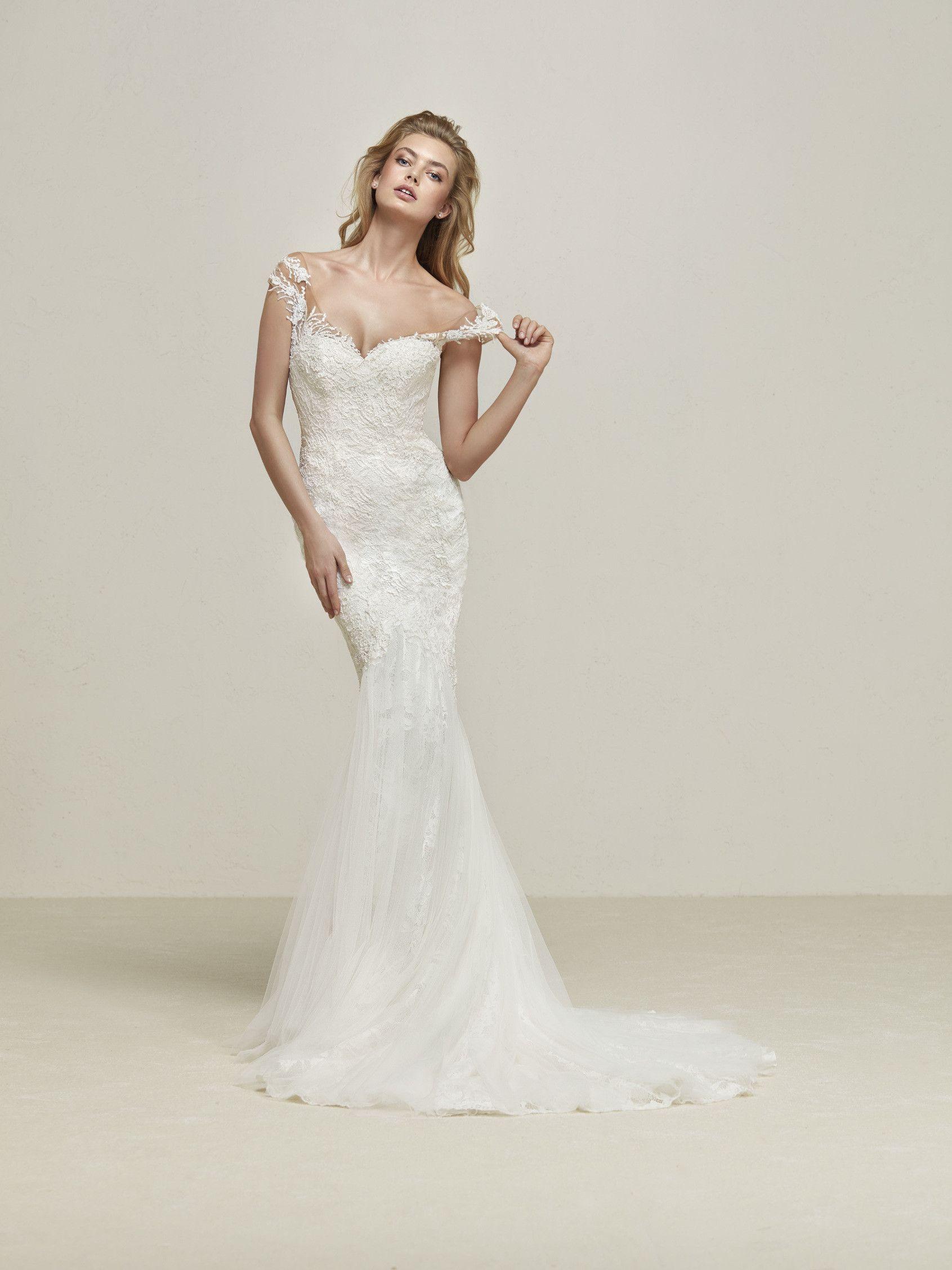 Drina: Fabulous mermaid style wedding dress with drop sleeves in ...