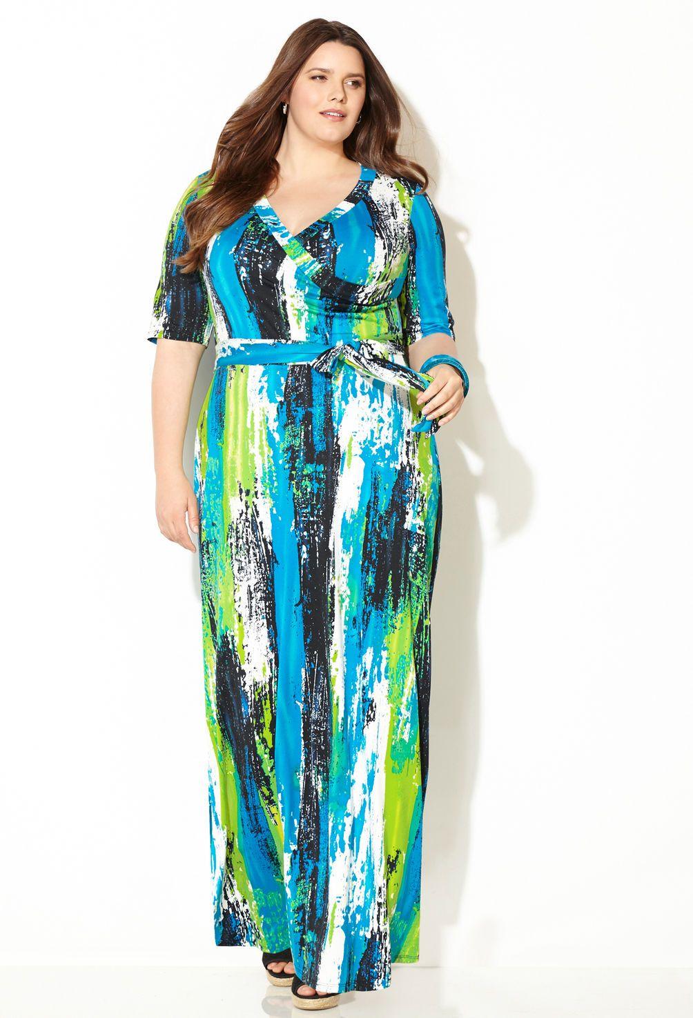 Blue Lime Splatter Surplice Wrap Maxi Dress-Plus Size Dress ...