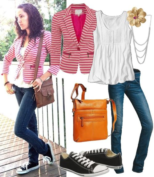My look of the day. Pink striped blazer, skinny jeans and converse.