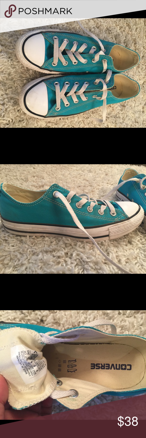 Converse Teal Tennis Shoes -Size 8 Pair of teal green Converse in a woman's size 8.  This is my favorite color, but I only wore them a couple of times.  Have very faint scuffing on the top of one of the toes, otherwise in great condition with very light signs of wear. Converse Shoes Athletic Shoes