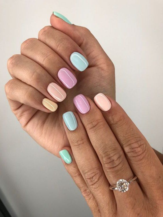 47 Most Eye Catching And Gorgeous Light Colour Nails Design With Different Colors For Beginner Nail Idea 09 Yellow Nails Short Acrylic Nails Trendy Nails