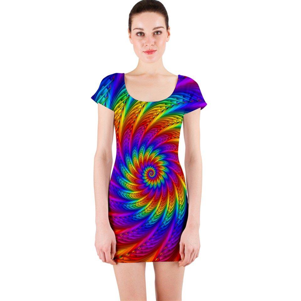 Psychedelic Rainbow Spiral Short Sleeve Bodycon Dress Bodycon Dress With Sleeves Dresses Bodycon Dress [ 960 x 960 Pixel ]