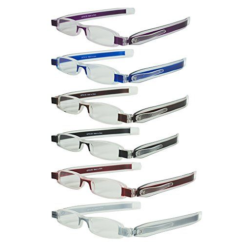 2d9bd44fd4 Optix 55 6 Folding Pocket Reading Glasses in Pen Clip Case - Lightweight