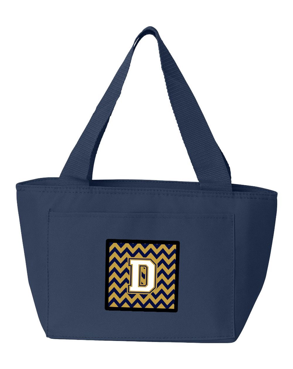 Letter D Chevron Navy Blue and Gold Lunch Bag CJ1057-DNA-8808