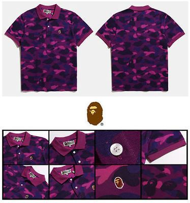 22bd85d9b6c2 New Bape Men Casual Camouflage Short Sleeves Tops A Bathing Ape POLO T-shirt  Tee