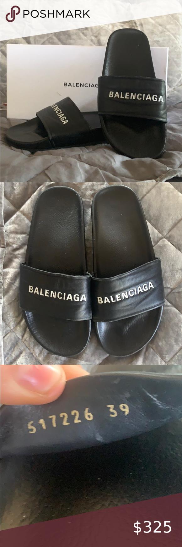Authentic Balenciaga Leather Pool Slide
