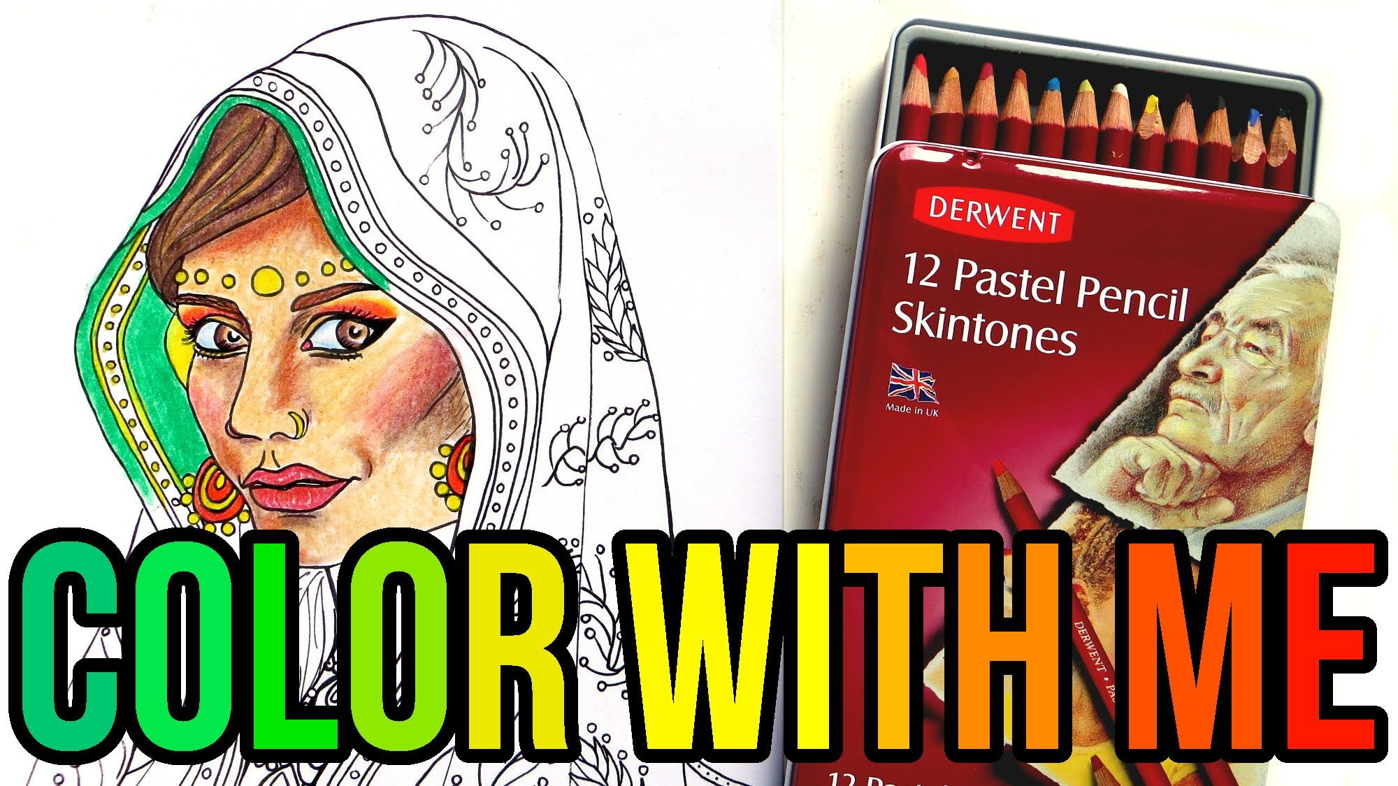 FREE Printable India Adult Coloring Page || Color with Me! Coloring with Pastel Pencils. I'm using Derwent pastel pencils and Koh-i-Noor Toison Toison D´or soft pastels to color this printable Indian girl coloring page that you can download for free.