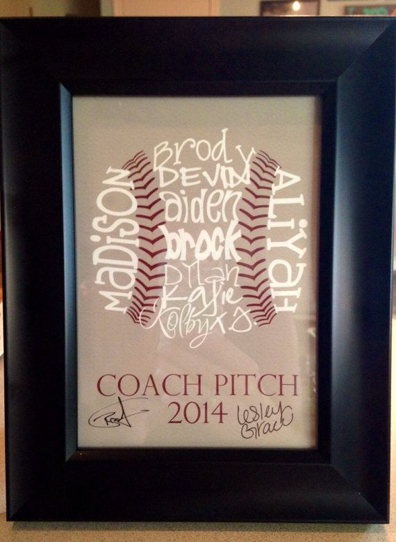 Baseball Coach Gift Typography Art By Lesleygracedesigns 20 00