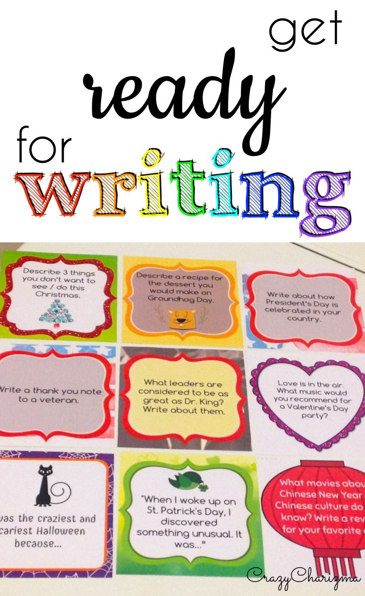 Tons of writing prompts on topics: fall, winter, spring, summer, Halloween, Thanksgiving, Veteran's Day, Christmas, Martin Luther King Jr., Groundhog, Easter, Patrick's, Valentine, Mother's, Father's, Earth Day and more!