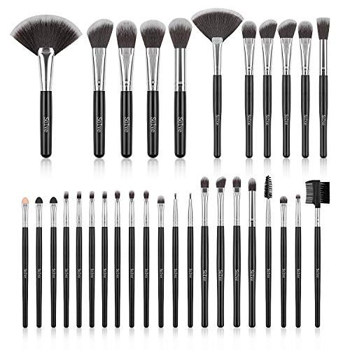 Makeup Brush Set SOLVE 32 Pieces Professional Makeup Brushes Wooden Handle Cosmetics Brus