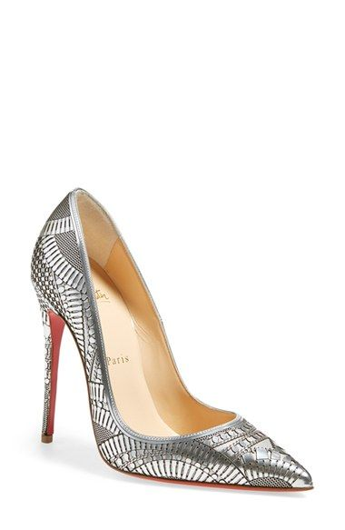 4d21cfd0f44e Free shipping and returns on Christian Louboutin  Kristali  Laser Cut  Pointy Toe Pump at Nordstrom.com. Intricately laser-cut metallic leather  overlays a ...