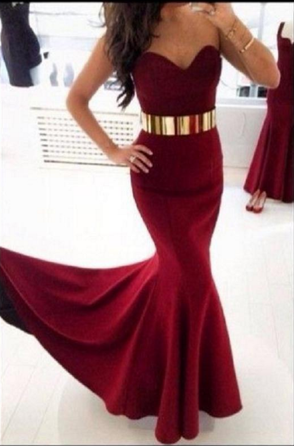 203321eaad80 Burgundy Mermaid Long Prom Dress Sweetheart With Gold Belt Evening Gowns  Custom Made Evening/Party Dress