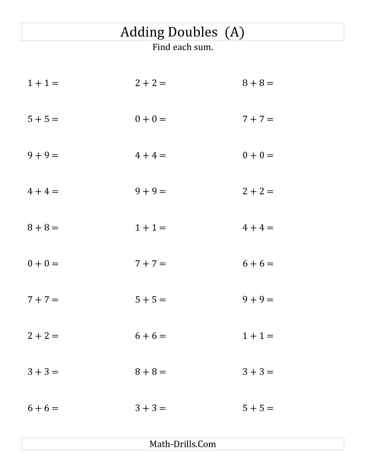small resolution of The Adding Doubles (Small Numbers) (A) math worksheet from the Addition  Worksheet page at Math-Drills…   Math fact worksheets