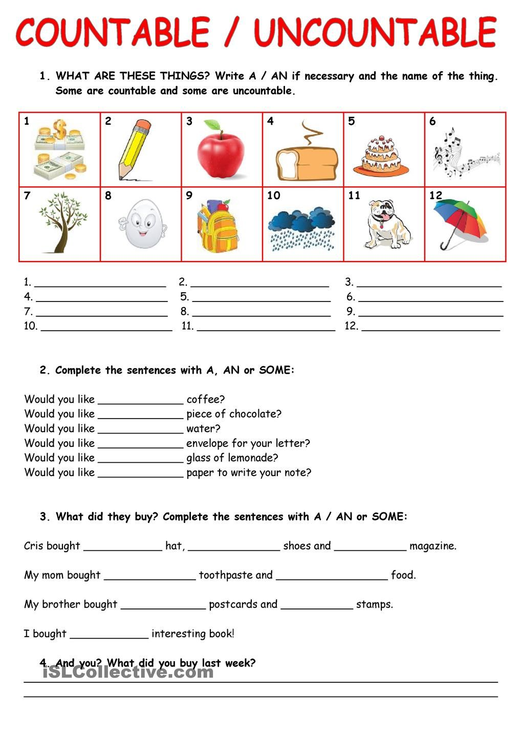 worksheet Count And Noncount Nouns Worksheet pinterest uncountable nouns