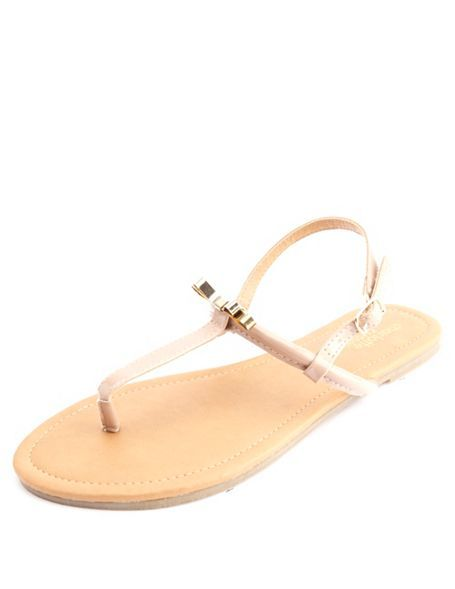4cfce9c9ef26 Bow-Topped Patent T-Strap Thong Sandals  Charlotte Russe
