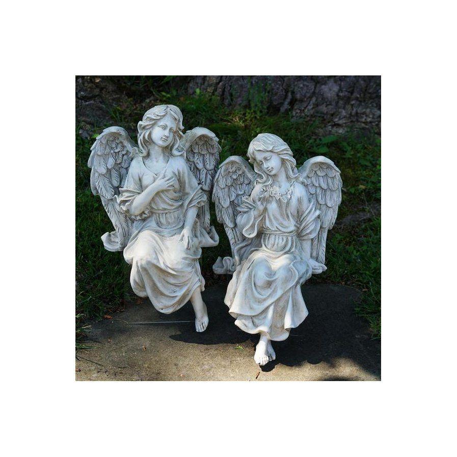 Decorative Sitting Angel 2 Piece Garden Statue Set