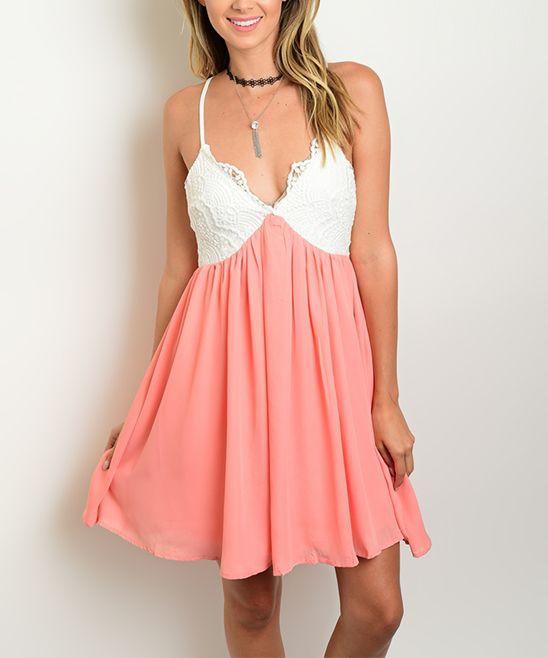 Peach & White Lace Sleeveless Sweetheart Dress