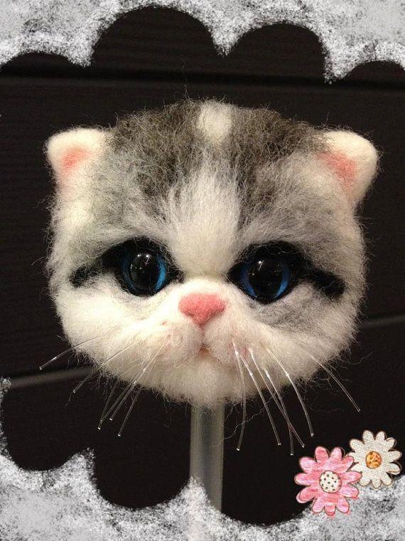 Diy Needle Wool Felting Kit Cat Head Pen Cap Cats Pinterest