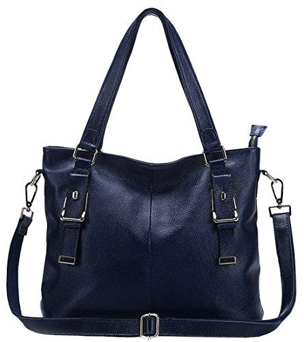 30597133a0 73.89 Heshe® Perfect Medium New Office Lady Simple Style Fashion Tote Top  Handle Shoulder Crossbody Bag Satchel Purse Handbag for Women (Navy Blue)  HESHE