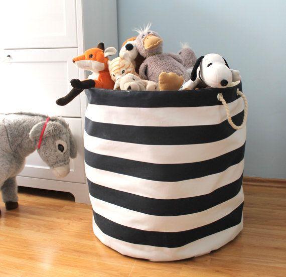 XXXL Nautical Storage Basket   Navy And White Bold Stripe   Storage Basket  Organizer   Oversized