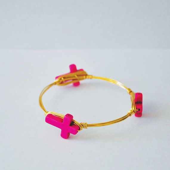 New Cross Collection - Skinny Hot Pink Cross Bangle @duō4all #duostyle