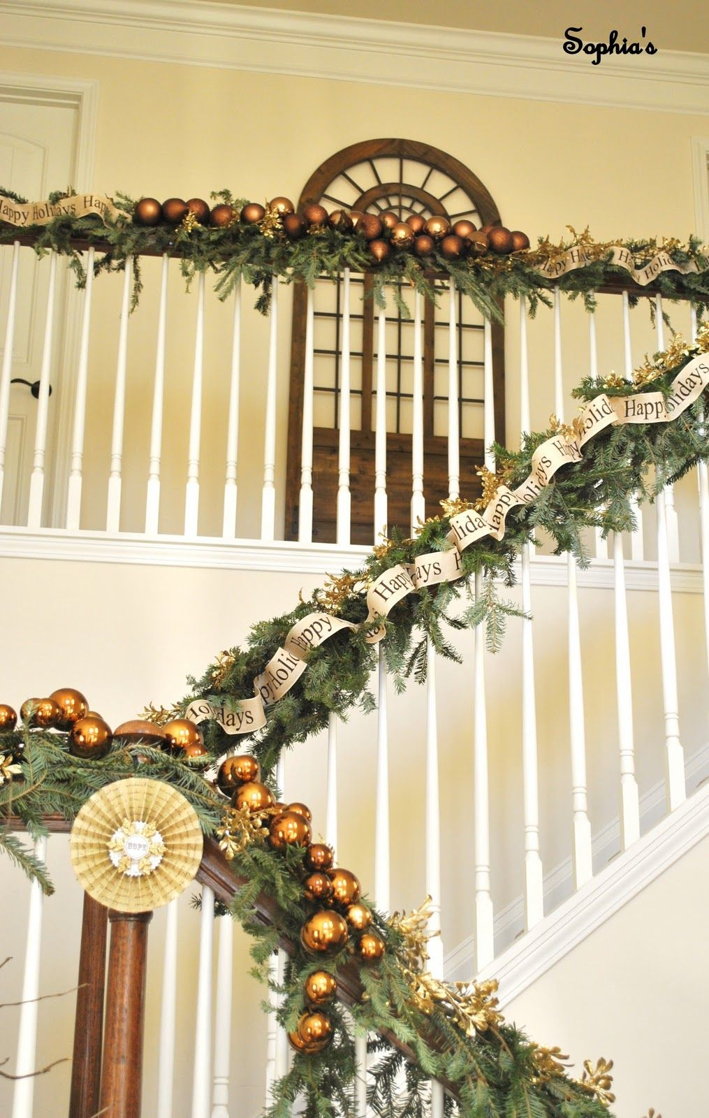 stairs banister christmas decoration - Banister Christmas Decorations