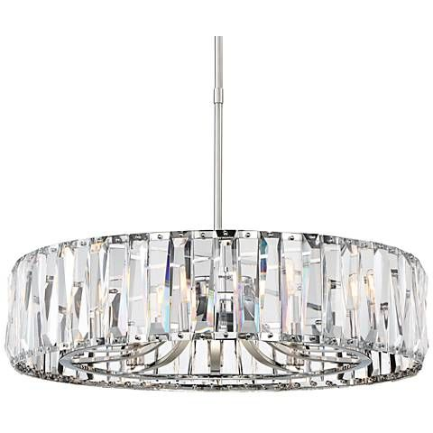 Many shining clear crystals cover the stylish shade of this contemporary chrome ten light chandelier 32 wide x 32 deep x high x round canopy is 5 wide