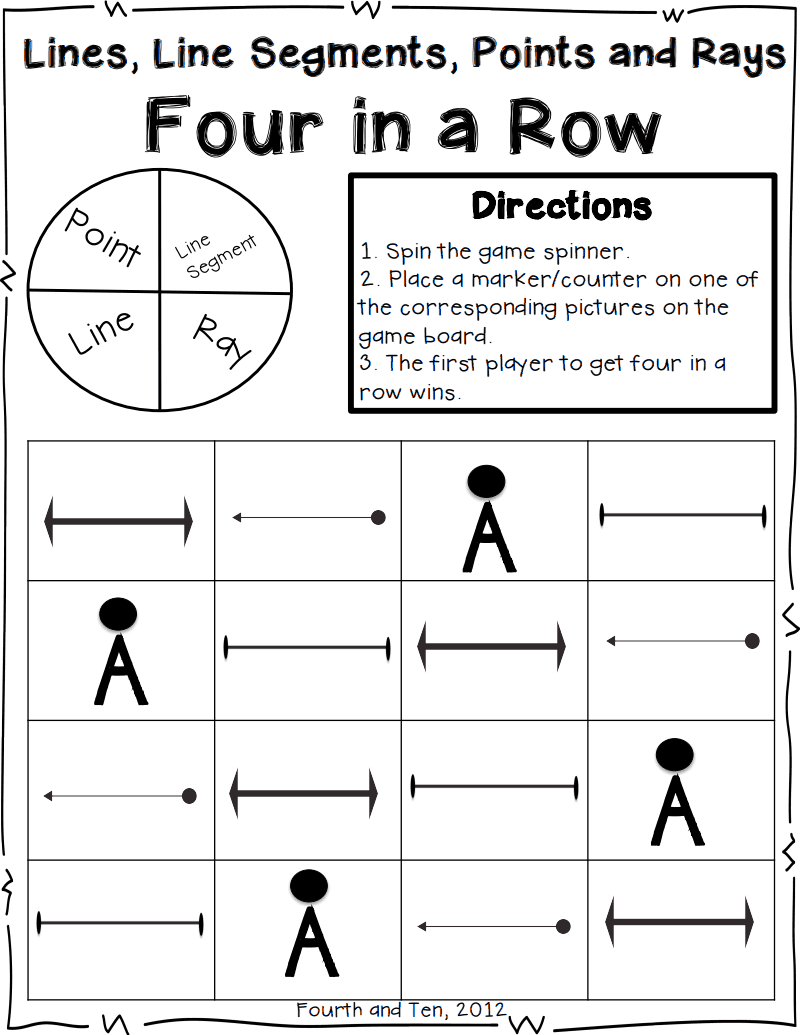 Lines Line Segment Four In A Row Pdf Math Math Geometry 4th