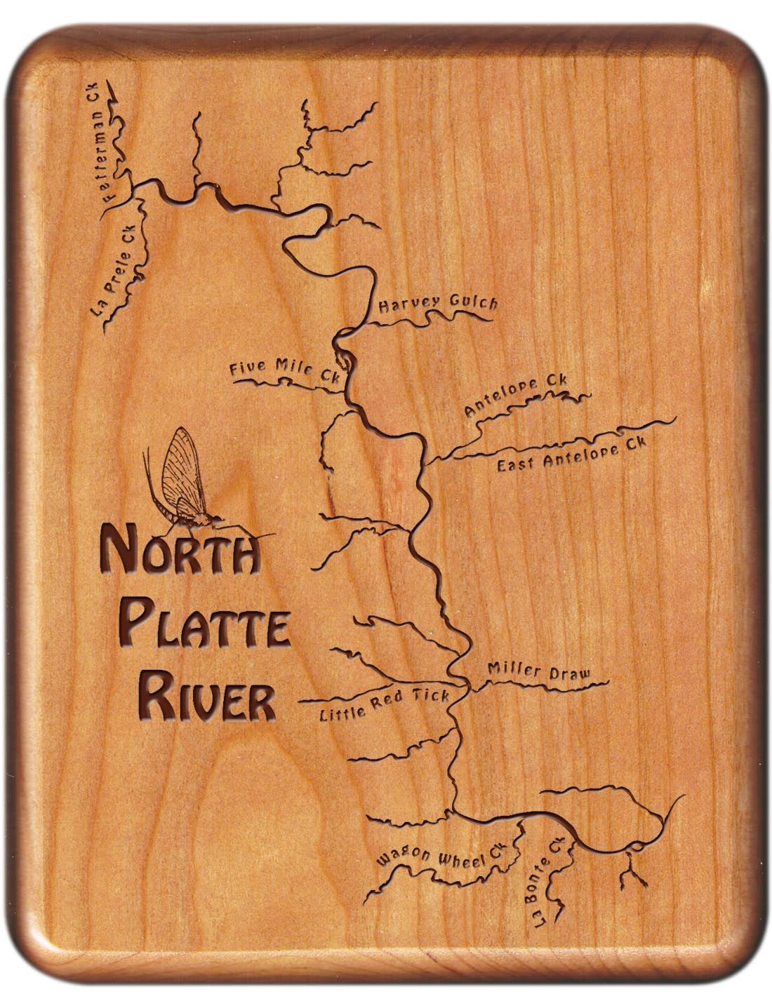 North Platte River Map Fly Box Douglas Wyoming Cherry Wood