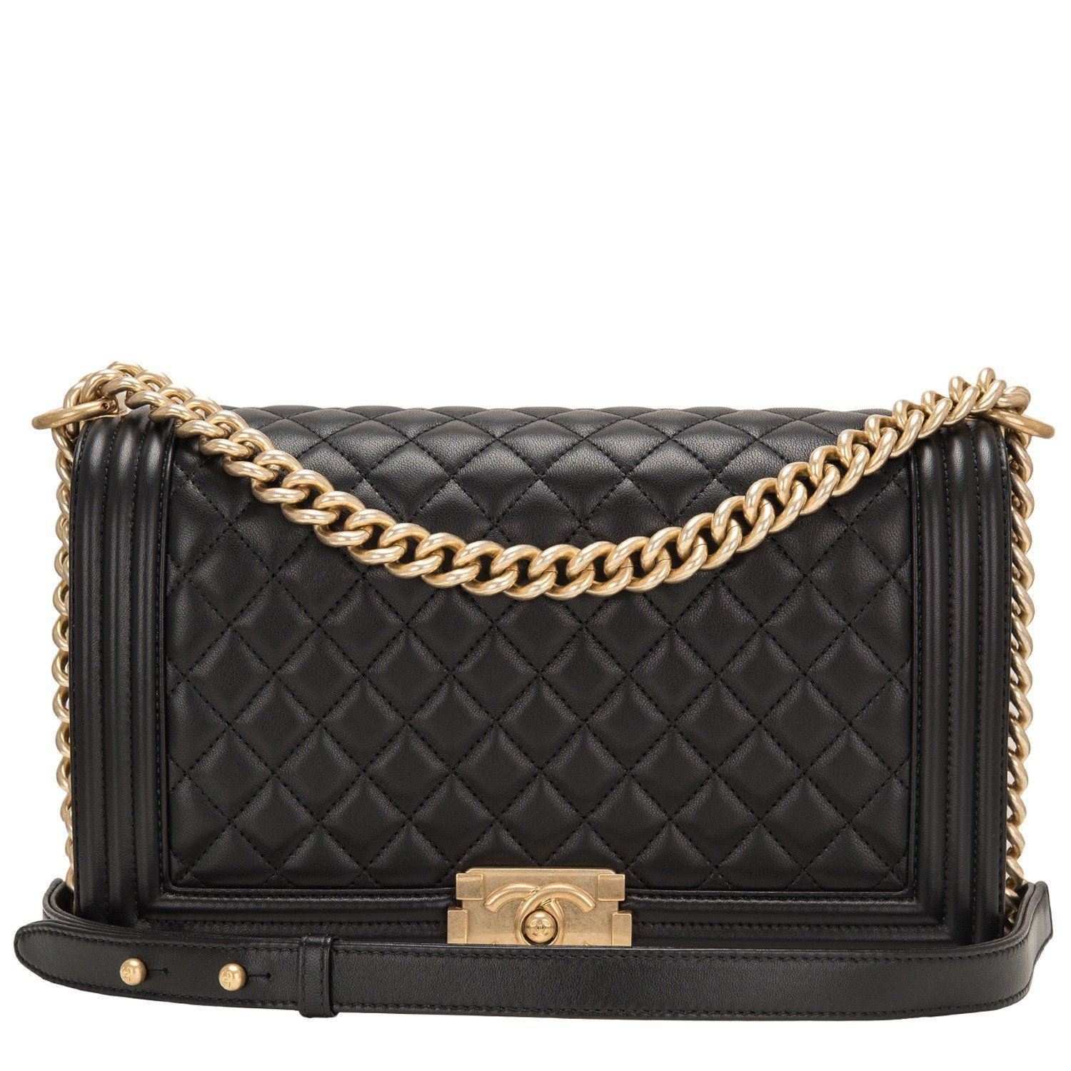 Leather Chanel Black Quilted Lambskin New Medium Boy Bag