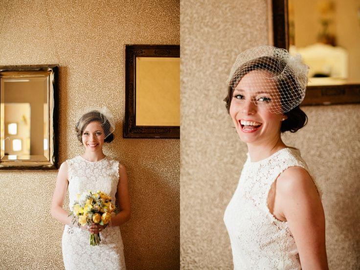 Veils With Short Dresses Lace Wedding Dress Birdcage Veil