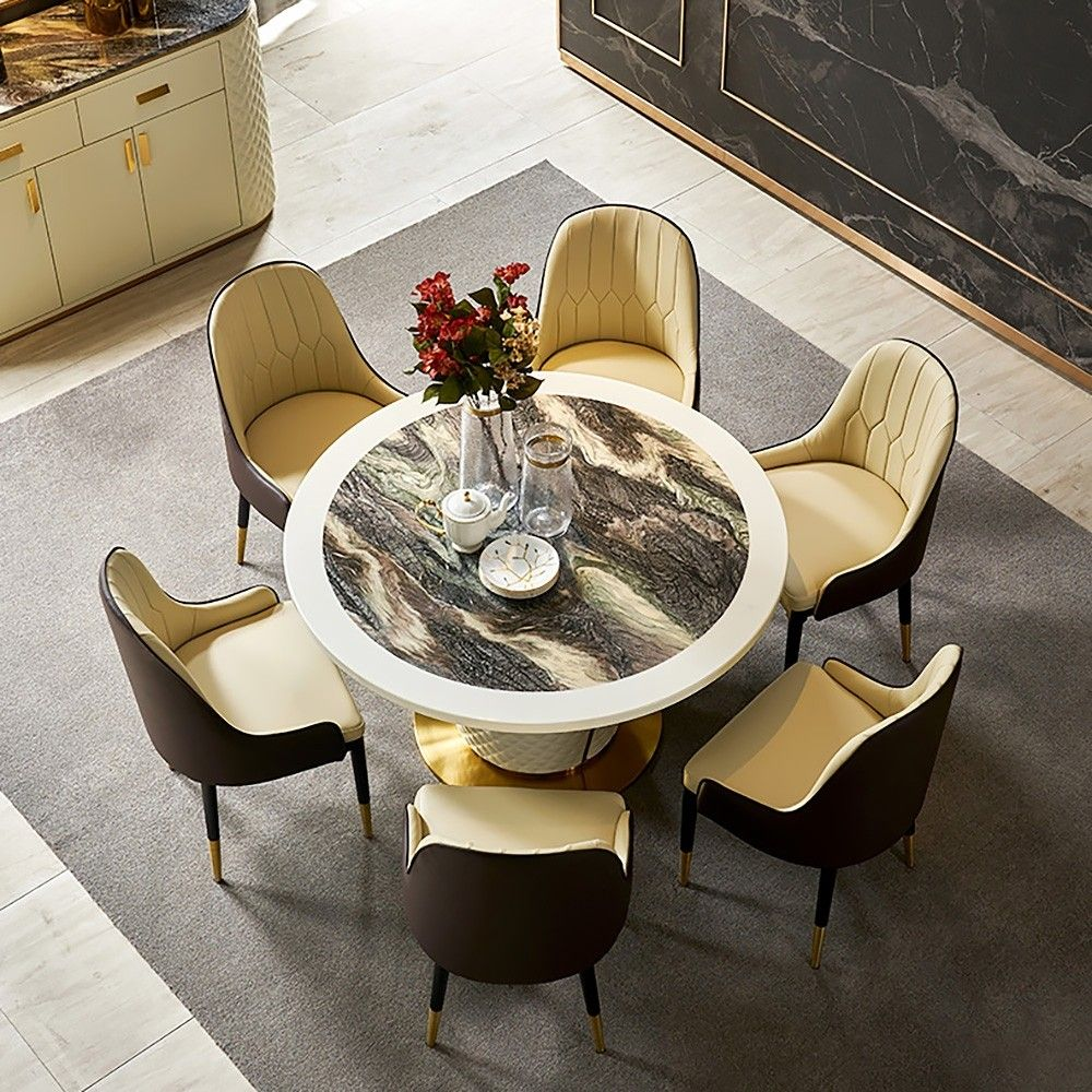 Postmodern Luxury Household 9 person 9 Inch Marble Round Dining ...
