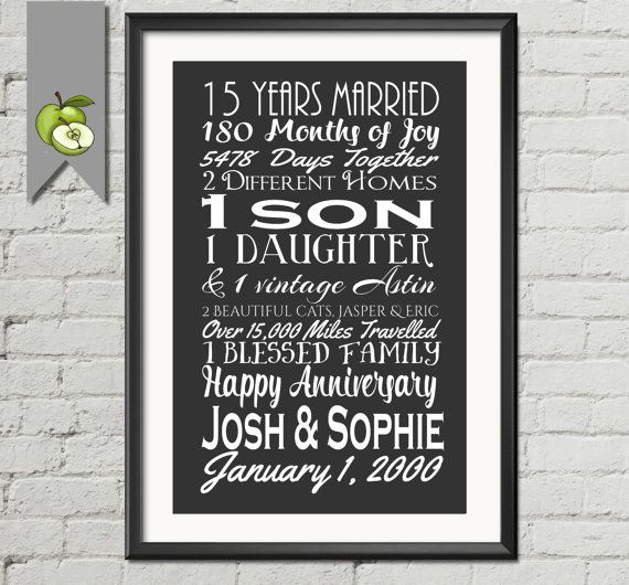 15th Wedding Anniversary Subway Print Printable 15th Anniversary