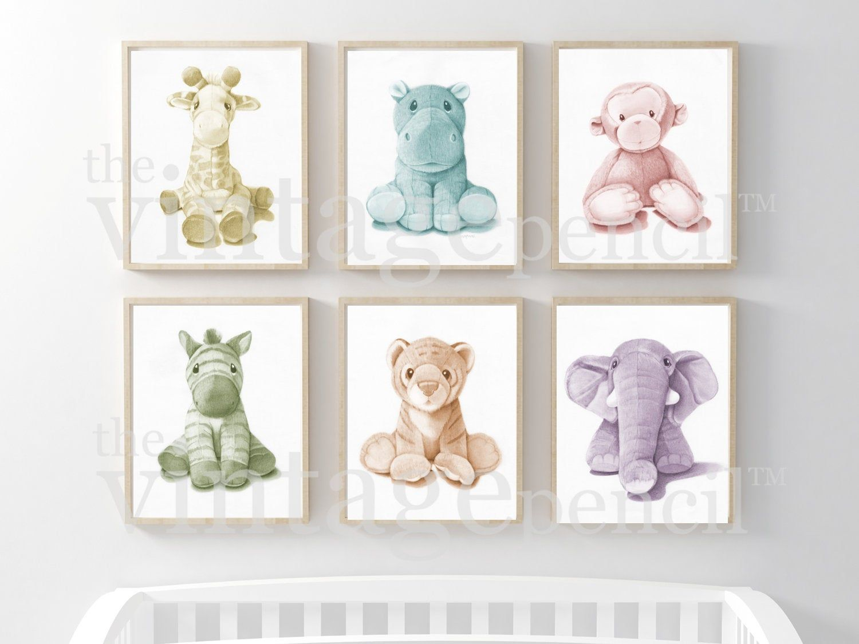 Pastel Nursery Safari Animal Prints Wall Art Set