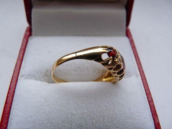 18ct+Gold+Ruby+and+Diamond+Ring+Birmingham+by+PurplePandaVintage,+$235.00